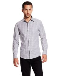 Vince Camuto | Gray Plaid Sportshirt for Men | Lyst
