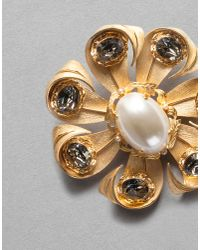 Dolce & Gabbana - Metallic Pearl Floral Brooch - Lyst