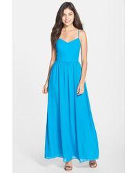 Adelyn Rae - Blue Chiffon Fit & Flare Maxi Dress - Lyst