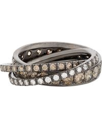 Roberto Marroni | Metallic Brown Diamond, White Diamond & Oxidized White Gold Triple Ring Size 6 | Lyst