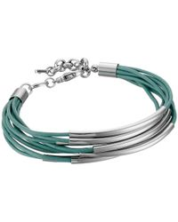 Fossil - Green Mini Leather Corded Bracelet - Lyst