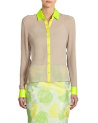 Elie Tahari | Natural Chelsea Colorblock Silk Hilo Blouse | Lyst