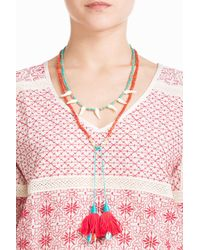 Aurelie Bidermann - Metallic Sioux Gold Plated Necklace With Turquoise And Coral Beads - Lyst