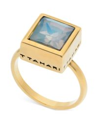 T Tahari - Metallic 14k Goldplated White Opal Crystal Square Ring - Lyst