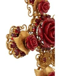 Dolce & Gabbana | Metallic Crystal And Rose Embellished Earrings | Lyst