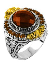 Konstantino - Metallic Sterling Silver Round Cut Cognac & Citrine Ring With 18 Karat Gold - Lyst