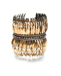 Deepa Gurnani | Metallic Layered Brass Feather Cuff | Lyst