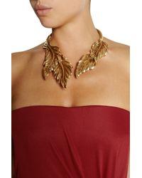 Oscar de la Renta | Metallic Goldplated Leaf Necklace | Lyst