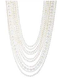 Macy's | White Cultured Fresh Water Pearl And Mother Of Pearl 10-row Necklace (3-1/2 To 8mm) In Sterling Silver | Lyst