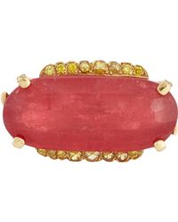 Sharon Khazzam - Purple Women's Rhodonite, Yellow Diamond & Gold Luden Ring - Lyst
