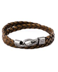 Tod's - Brown Braided Two Layer Bracelet for Men - Lyst