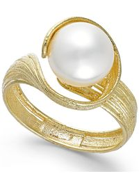 Macy's | Metallic Cultured Freshwater Pearl Twist Ring In 18k Gold Over Sterling Silver (8mm) | Lyst