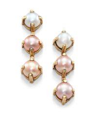Aesa - Luxor 6Mm Lavender, Pink & White Freshwater Pearl Linear Earrings - Lyst