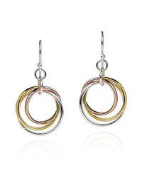 Aeravida | Metallic Trendy Tri Color Hoop .925 Silver Dangle Earrings | Lyst