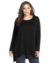 Eileen Fisher - Black Long-Sleeved Silk Top - Lyst