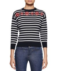 Alexander McQueen - Blue Embroidered Striped Knit Sweater - Lyst