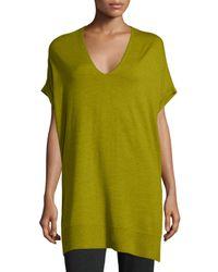 Eileen Fisher - Green Short-sleeve Merino Jersey Tunic - Lyst