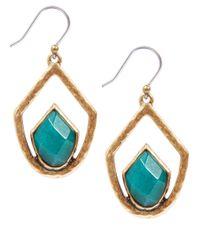Lucky Brand - Blue Goldtone Drop Set Stone Earrings - Lyst