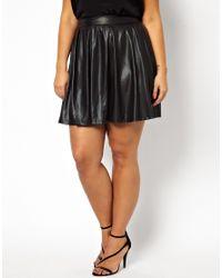 AX Paris | Black Curve Leather Look Skater Skirt | Lyst