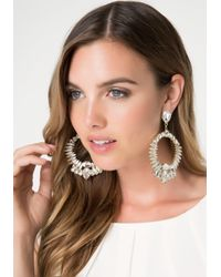 Bebe - Metallic Dramatic Crystal Earrings - Lyst