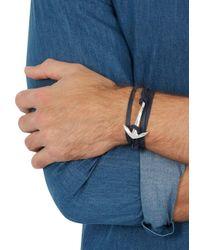 Miansai - Blue Navy Anchor Leather Wrap Bracelet for Men - Lyst