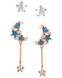 Betsey Johnson | Blue Crystal Star And Moon Duo Stud Earring Set | Lyst
