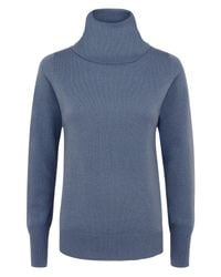 Jaeger | Blue Cashmere Cowl Neck Sweater | Lyst