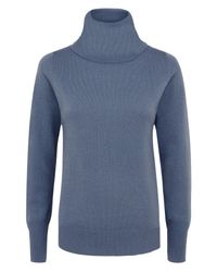 Jaeger - Blue Cashmere Cowl Neck Sweater - Lyst