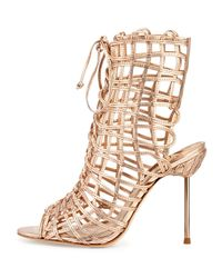 Sophia Webster | Metallic Delphine Rose Gold Leather Sandals | Lyst
