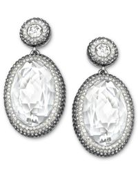 Swarovski - Multicolor Palladium-Plated Clear Crystal Oval Drop Earrings - Lyst