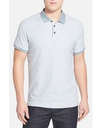 Robert Barakett - Gray 'Benedict' Contrast Collar Cotton Polo for Men - Lyst