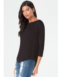 Bebe | Black Back Zip Top | Lyst