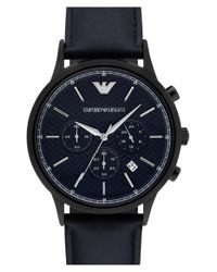 Emporio Armani - Blue Chronograph Leather Strap Watch for Men - Lyst