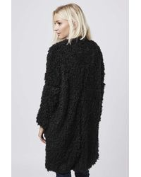 TOPSHOP - Black Aviation Faux Fur Coat By Goldie - Lyst