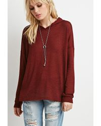 Forever 21 - Purple Striped Sweater Hoodie You've Been Added To The Waitlist - Lyst