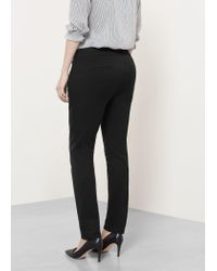 Violeta by Mango - Black Zip Cotton Trousers - Lyst