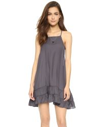 Free People | Gray Raven Slip Dress - Charcoal | Lyst