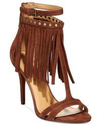 Nine West   Brown Dontdare Fringe Sandals   Lyst