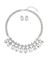 Mikey - White Hanging Oval Crystal Set - Lyst