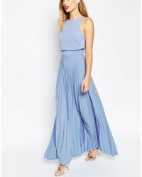 ASOS | Blue Pleated Crop Top Maxi Dress | Lyst