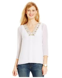 Michael Kors | White Michael Petite Three-quarter-sleeve Embellished Top | Lyst