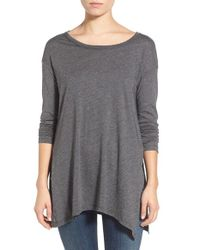 Splendid | Gray Long Sleeve Slub Jersey Top | Lyst