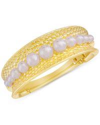 Majorica | Metallic Gold-tone Organic Man-made Pearl Cuff Bracelet | Lyst