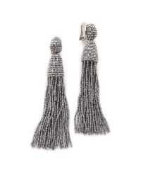 Oscar de la Renta | Metallic Classic Long Tassel Earrings | Lyst