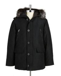Michael Kors | Black Fox Fur-trimmed Coat for Men | Lyst