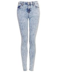 TOPSHOP - Blue Moto Acid Wash Leigh Jeans - Lyst