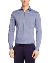 BOSS - Blue Textured Regular-fit Shirt: 'gordon' for Men - Lyst