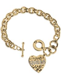 Guess | Metallic Gold-tone Heart Charm Toggle Bracelet | Lyst