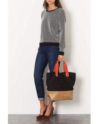 TOPSHOP | Black Neoprene Shopper Bag | Lyst