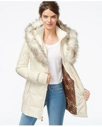 Betsey Johnson | White Faux-fur-hood Quilted Puffer Coat | Lyst